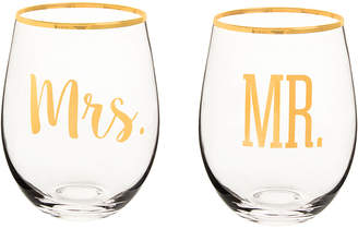 Cathy's Concepts Cathys Concepts Mr. & Mrs. 19.25Oz Rim Stemless Wine Glasses