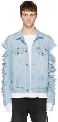 Palm Angels Blue Ripped Denim Jacket $700 thestylecure.com