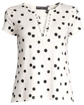 Generation Love Women's Hugo Polka Dot Lace-Up Tee - White Black - Size Large