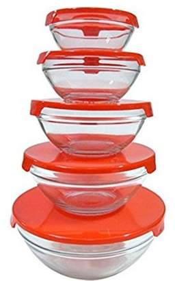 TellSell Kitchen Strong Durable Glass Storage Bowl With Air Tight Lid Container - 5 Pack