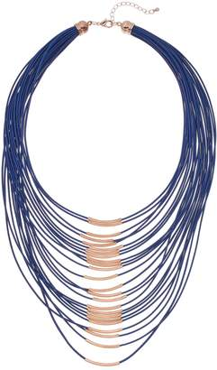 Blue & Rose Gold Tone Bar Multi Strand Statement Necklace