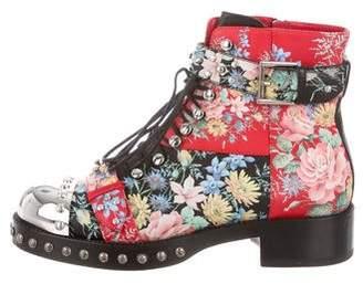 Alexander McQueen Studded Floral Combat Boots