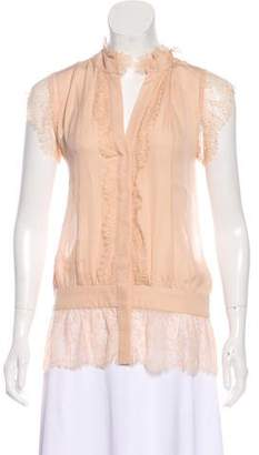 Haute Hippie Silk Lace-Trimmed Sleeveless Top