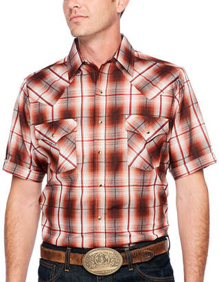 Ely Cattleman Short Sleeve Plaid Snap-Front Shirt-Tall