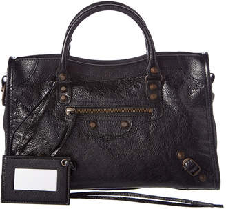 At Rue La Balenciaga Classic Metallic City Small Leather Shoulder Bag