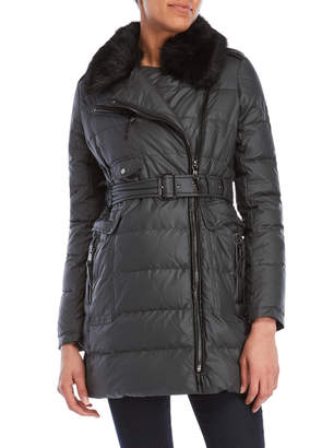 Vince Camuto Coated Faux Fur-Trimmed Coat