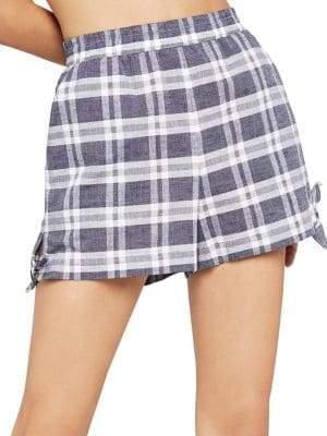 BCBGeneration Plaid Side-Tie Shorts