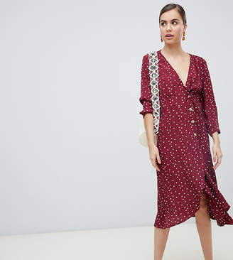 Monki wrap polka dot dress with buttons in burgundy