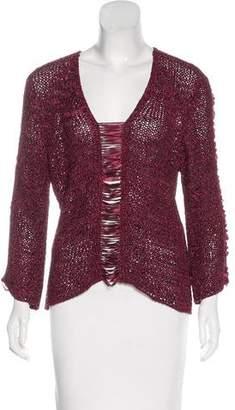 Salvatore Ferragamo Long Sleeve Open Knit Sweater