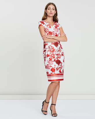 Dorothy Perkins Border Floral Sateen Fit-And-Flare Dress