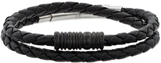 Lynx Men's Braided Black Leather Wrap Bracelet