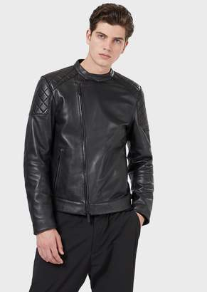Emporio Armani Nappa Leather Jacket With Quilted Motifs