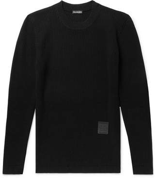 Balenciaga Slim-Fit Logo-Appliqued Ribbed Wool Sweater - Black