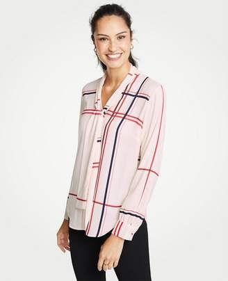 Ann Taylor Plaid V-Neck Bow Blouse
