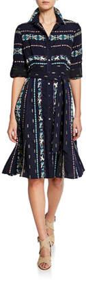 Finley Jeanette Taos Stripe Long-Sleeve Shirtdress with Belt