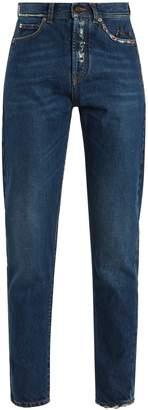 Distressed high-rise slim-leg jeans