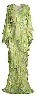 Etro Women's Paisley Ruffle Silk Gown