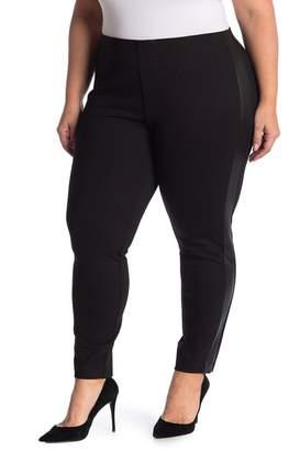 Catherine Malandrino Faux Leather Trim Ponte Knit Leggings (Plus Size)