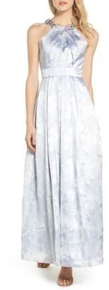 Eliza J Beaded Halter Neck Gown