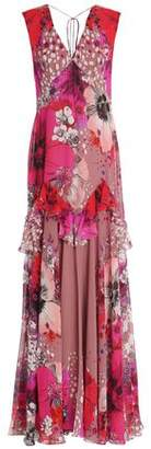 Roberto Cavalli Ruffle-Trimmed Floral-Print Silk-Chiffon Gown