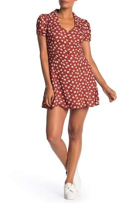 Band of Gypsies Floral Collared Button Front Mini Dress