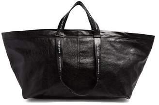 Balenciaga Carry Shopper L Leather Bag - Mens - Black White