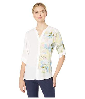 FDJ French Dressing Jeans Printed Blousing Blended Floral Print Tab Up Sleeve Blouse