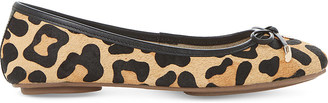 Dune Hero leopard-print pony-finish ballet pumps