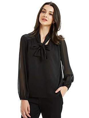 Basic Model Womens Chiffon Blouse Bow Tie Neck Tops Long Sleeve Casual Office Work T Shirts(