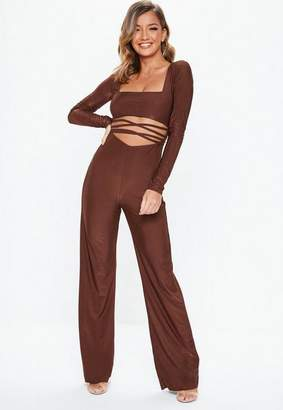 Missguided Rust Slinky Cut Out Romper