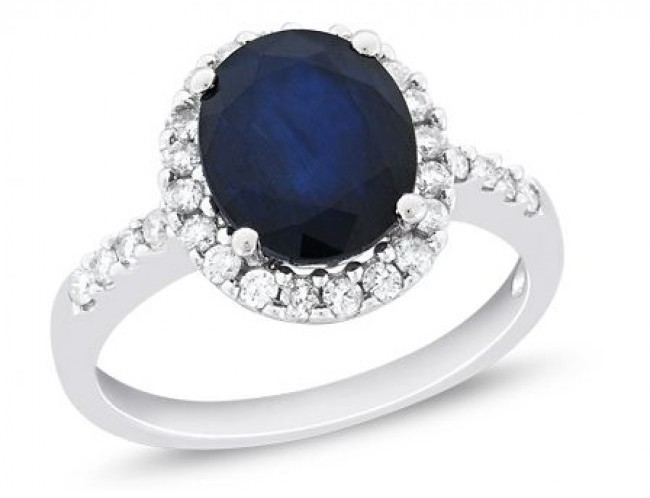 4 CT Sapphire and Diamond 14K White Gold Engagement Ring