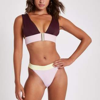 River Island Purple block print high leg bikini bottoms