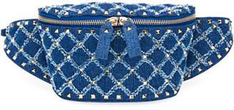 Valentino Rockstud Spike Small Denim Belt Bag