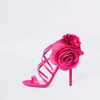 River Island Womens Pink flower strappy stiletto heel sandals