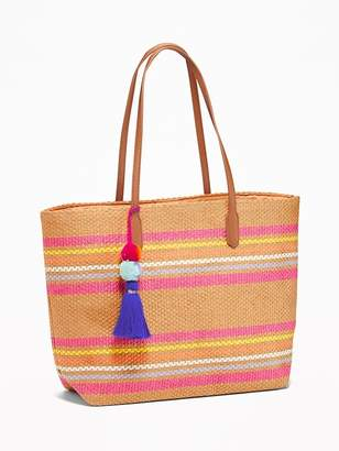 Old Navy Striped Straw Pom-Pom Tassel Tote for Women