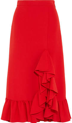 MSGM Ruffled Crepe Midi Skirt - Red