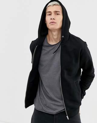 Weekday Bom zip hoodie in black