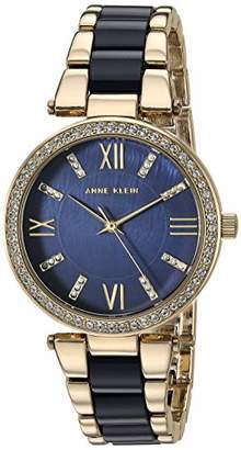 Anne Klein Women's AK/3350NVGB Swarovski Crystal Accented Gold-Tone and Navy Blue Resin Bracelet Watch