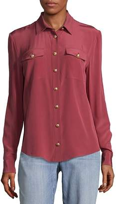 Balmain Women's Rose Silk Blouse