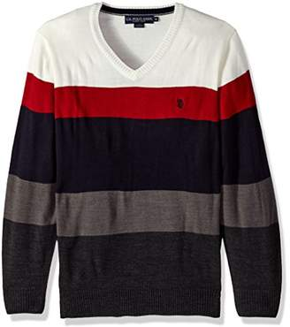 U.S. Polo Assn. Men's All Over Striped V-Neck Sweater