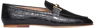 Tod's Slipper In Mock Croc Black Leather