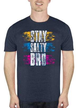 Humör Men's Beach Stay Salty Bro Beach Graphic T-Shirt, up to Size 2XL