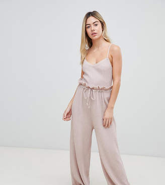 Micha Lounge knitted pants with paperbag waist in soft rib two-piece