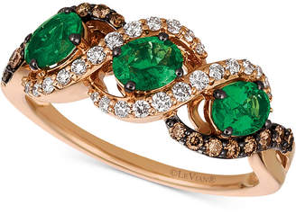 LeVian Le Vian Chocolatier Costa Smeralda Emerald (3/4 ct. t.w.) & Diamond (3/8 ct. t.w.) Ring in 14k Gold