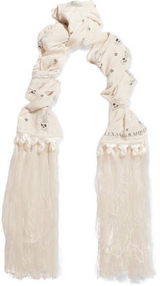 Fringed Printed Silk Crepe De Chine Scarf - White