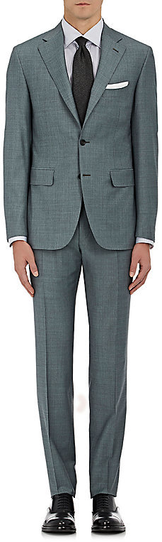 CanaliCanali Men's Wool Two-Button Suit-Grey, Green, Dark green