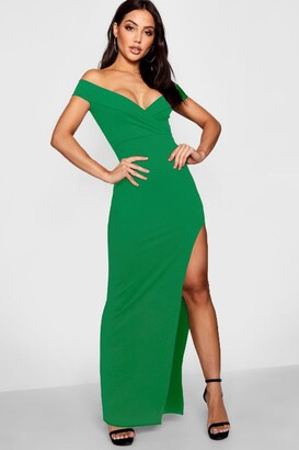 boohoo Wrap Top Off Shoulder Maxi Dress
