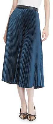 Brunello Cucinelli Accordion Pleated Midi Skirt w/ Monili Waistband
