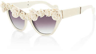 Karlsson Anna-Karin Cause I Flippin Can Rosette Sunglasses, Ivory
