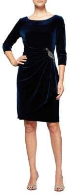 Alex Evenings Short Ruched Velvet Shift Dress